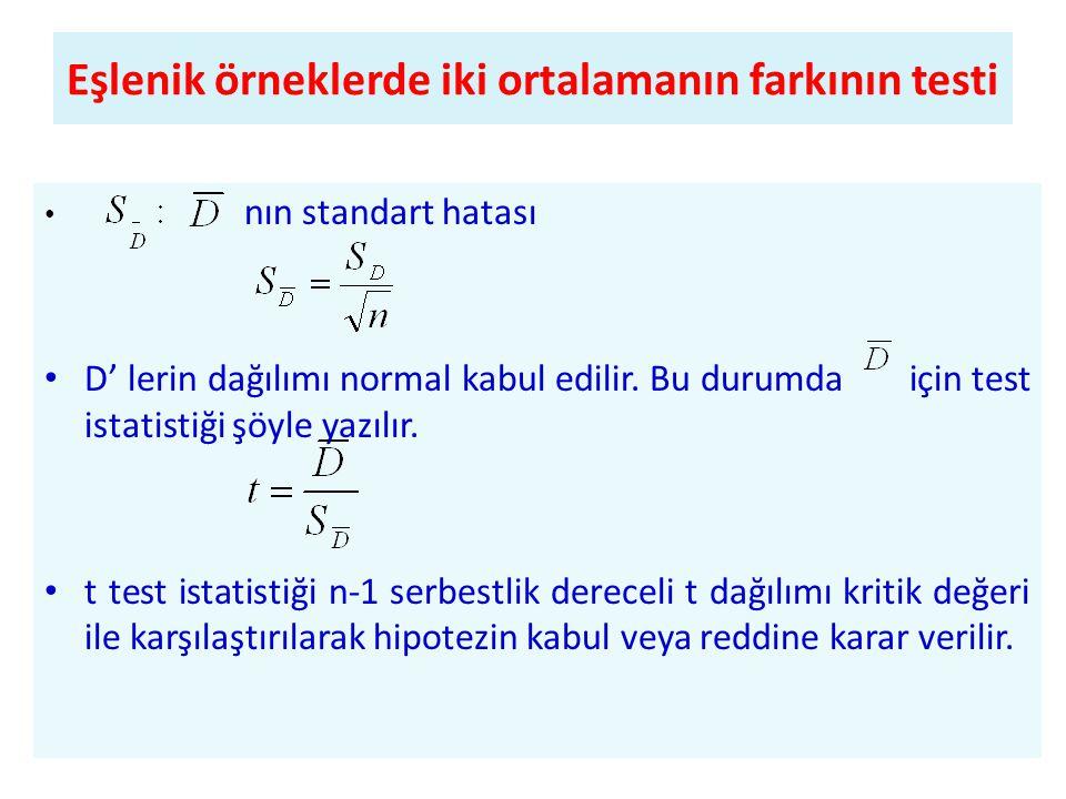 • nın standart hatası • D' lerin dağılımı normal kabul edilir.