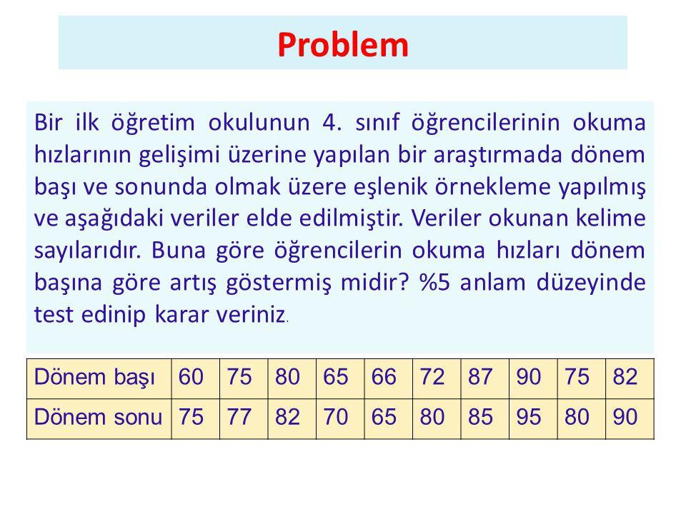 Problem Bir ilk öğretim okulunun 4.
