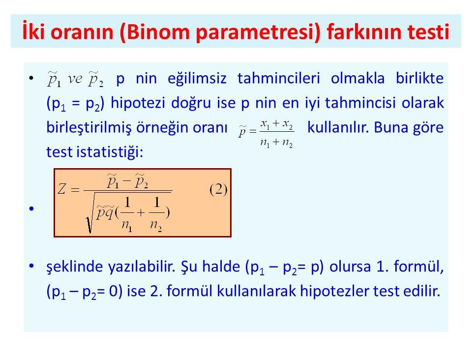 İki oranın (Binom parametresi) farkının testi • p nin eğilimsiz tahmincileri olmakla birlikte (p 1 = p 2 ) hipotezi doğru ise p nin en iyi tahmincisi olarak birleştirilmiş örneğin oranı kullanılır.