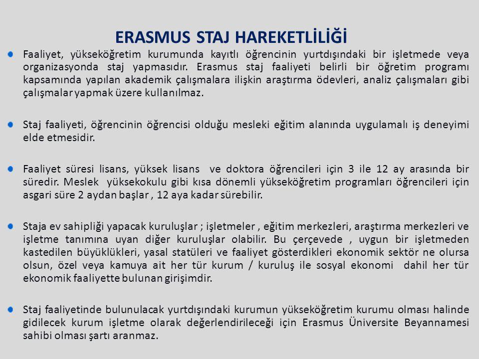 ERASMUS STAJ HAREKETLİLİĞİ Faaliyet, yükseköğretim kurumunda kayıtlı öğrencinin yurtdışındaki bir işletmede veya organizasyonda staj yapmasıdır. Erasm