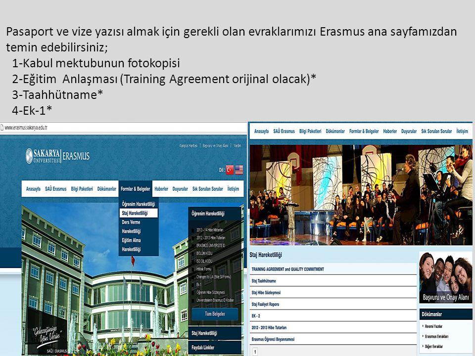 Pasaport ve vize yazısı almak için gerekli olan evraklarımızı Erasmus ana sayfamızdan temin edebilirsiniz; 1-Kabul mektubunun fotokopisi 2-Eğitim Anlaşması (Training Agreement orijinal olacak)* 3-Taahhütname* 4-Ek-1*
