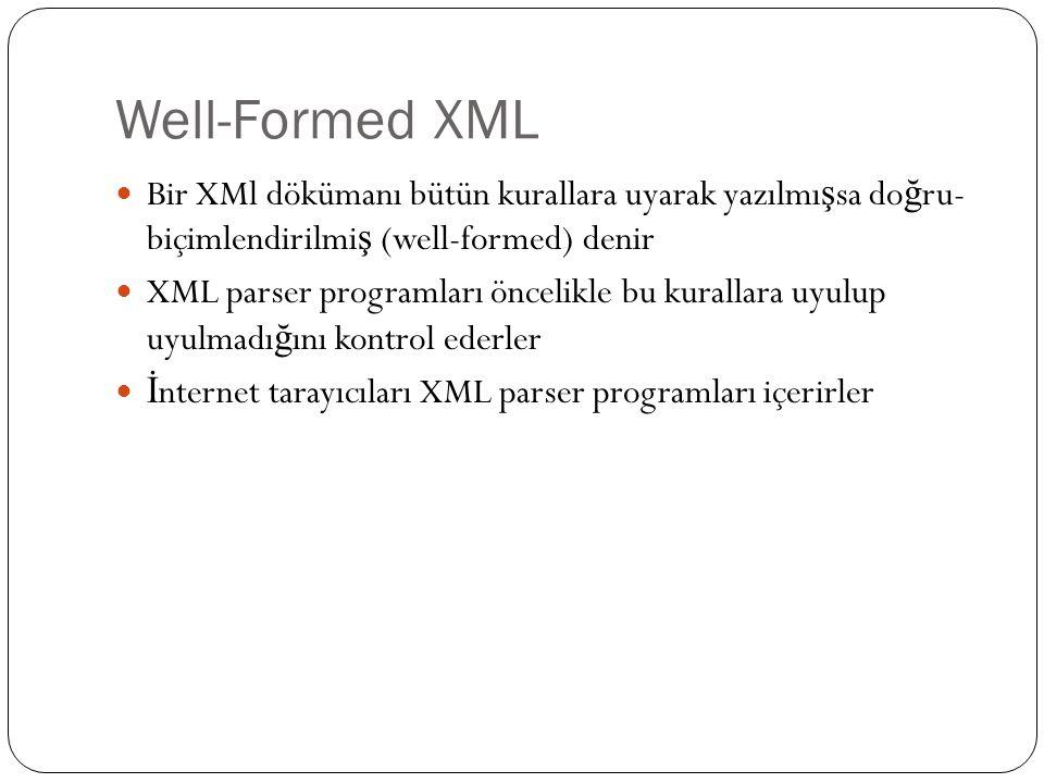 Well-Formed XML  Bir XMl dökümanı bütün kurallara uyarak yazılmı ş sa do ğ ru- biçimlendirilmi ş (well-formed) denir  XML parser programları öncelik