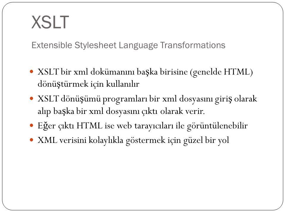 XSLT Extensible Stylesheet Language Transformations  XSLT bir xml dokümanını ba ş ka birisine (genelde HTML) dönü ş türmek için kullanılır  XSLT dön