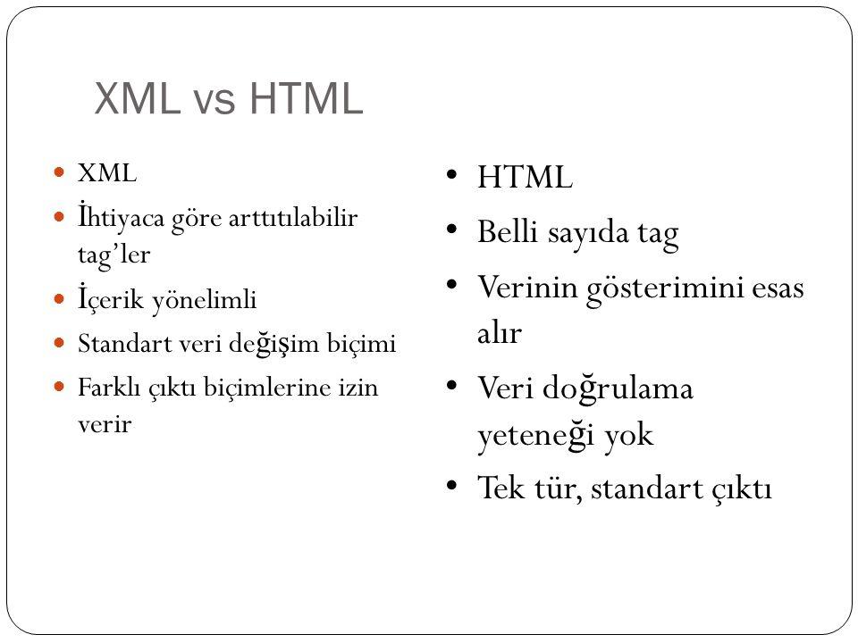 XML vs HTML  XML  İ htiyaca göre arttıtılabilir tag'ler  İ çerik yönelimli  Standart veri de ğ i ş im biçimi  Farklı çıktı biçimlerine izin verir