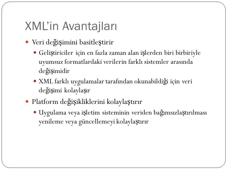 XML'in Avantajları  Veri de ğ i ş imini basitle ş tirir  Geli ş tiriciler için en fazla zaman alan i ş lerden biri birbiriyle uyumsuz formatlardaki