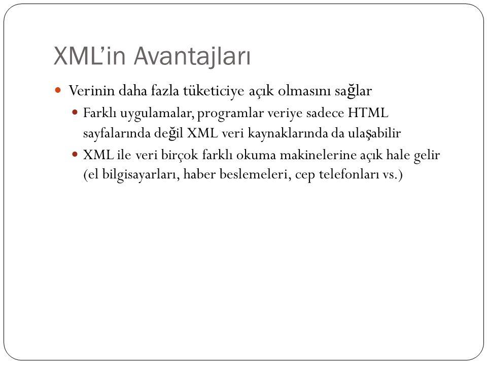 XML'in Avantajları  Verinin daha fazla tüketiciye açık olmasını sa ğ lar  Farklı uygulamalar, programlar veriye sadece HTML sayfalarında de ğ il XML