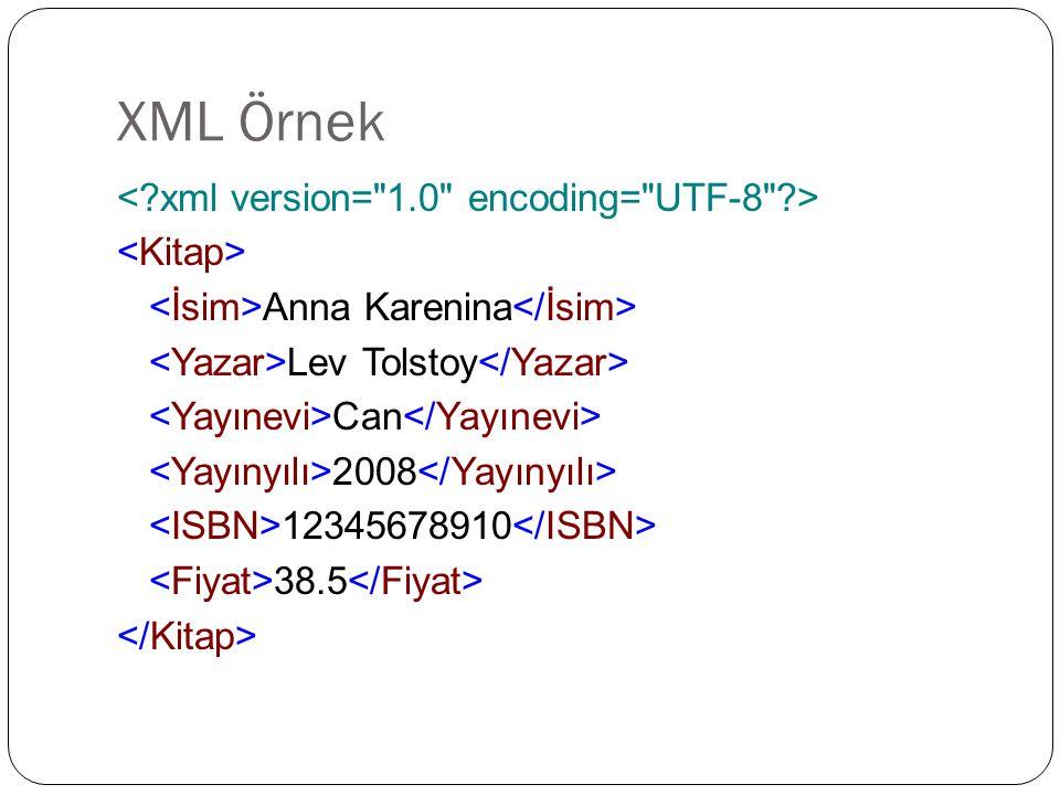 XML Örnek Anna Karenina Lev Tolstoy Can 2008 12345678910 38.5