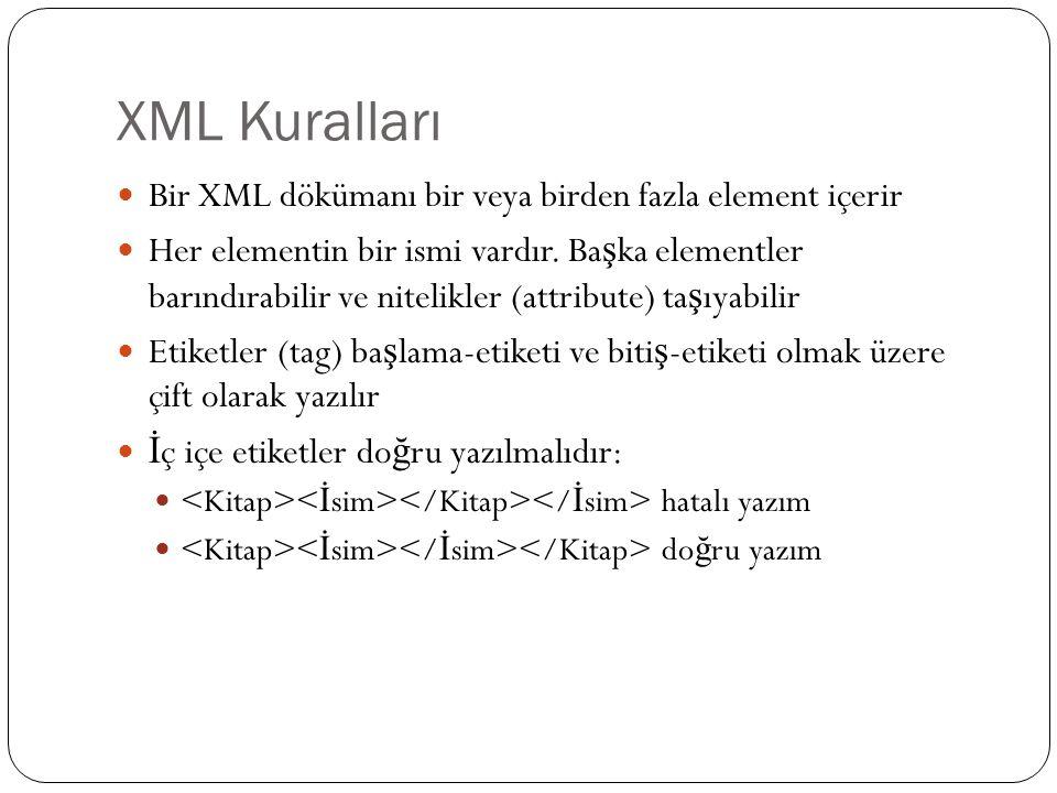 XML Kuralları  Bir XML dökümanı bir veya birden fazla element içerir  Her elementin bir ismi vardır. Ba ş ka elementler barındırabilir ve nitelikler
