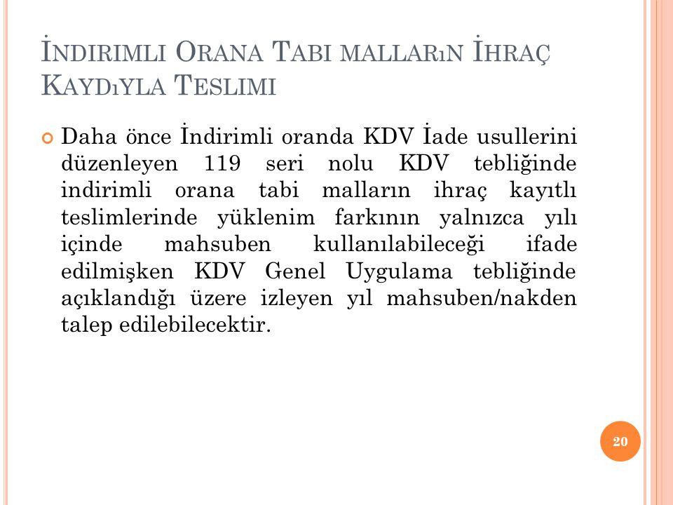 İ NDIRIMLI O RANA T ABI MALLARıN İ HRAÇ K AYDıYLA T ESLIMI Daha önce İndirimli oranda KDV İade usullerini düzenleyen 119 seri nolu KDV tebliğinde indi