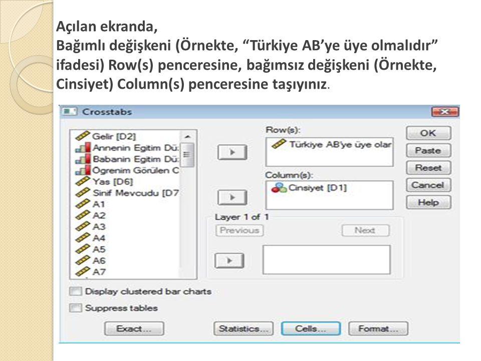Ki-kare Testi - Spss Mönüden  Analyze -> Descriptive statistics -> Crosstabs'i seçin  Satıra okul türü, sütuna cinsiyeti yerleştirin.