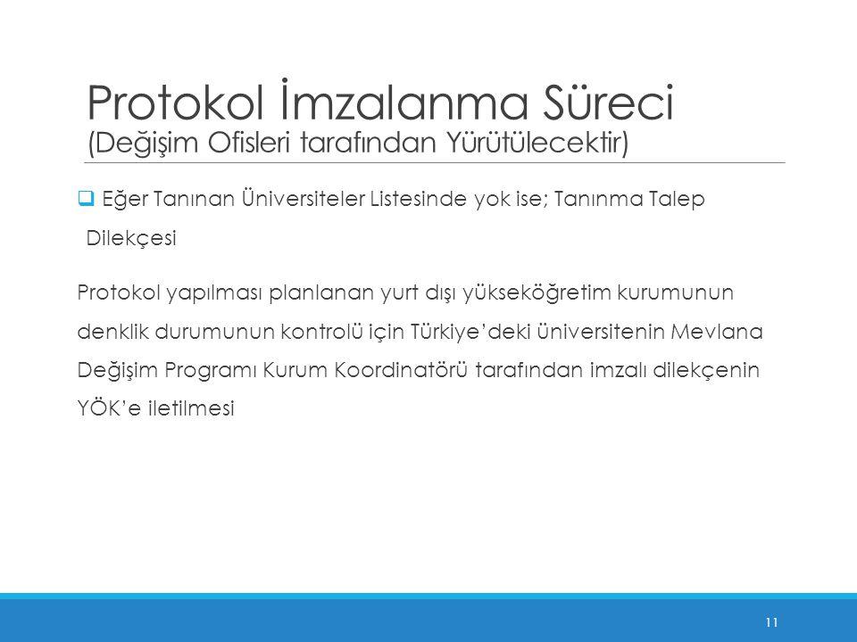 Protokol İmzalanma Süreci (Değişim Ofisleri tarafından Yürütülecektir)  Eğer Tanınan Üniversiteler Listesinde yok ise; Tanınma Talep Dilekçesi Protokol yapılması planlanan yurt dışı yükseköğretim kurumunun denklik durumunun kontrolü için Türkiye'deki üniversitenin Mevlana Değişim Programı Kurum Koordinatörü tarafından imzalı dilekçenin YÖK'e iletilmesi 11