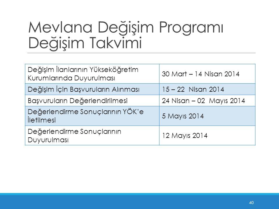 Mevlana Değişim Programı Değişim Takvimi Değişim İlanlarının Yükseköğretim Kurumlarında Duyurulması 30 Mart – 14 Nisan 2014 Değişim İçin Başvuruların Alınması15 – 22 Nisan 2014 Başvuruların Değerlendirilmesi24 Nisan – 02 Mayıs 2014 Değerlendirme Sonuçlarının YÖK'e İletilmesi 5 Mayıs 2014 Değerlendirme Sonuçlarının Duyurulması 12 Mayıs 2014 40