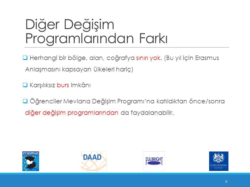 Mevlana Değişim Programının Amacı  Yükseköğretimin uluslararasılaşması sürecine katkıda bulunmak,  Türkiye'yi yükseköğretim alanında bir cazibe merkezi haline getirmek,  Yükseköğretim kurumlarımızın akademik kapasitelerini artırmak,  Türkiye'nin zengin tarihsel ve kültürel mirasını küresel düzeyde paylaşmak,  Kültürler arası etkileşimin artmasıyla, farklılıklara saygı ve anlayış kültürünün zenginleşmesini sağlamaktır.