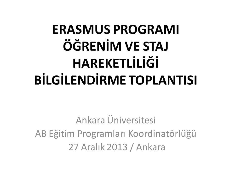 ERASMUS PROGRAMI ÖĞRENİM VE STAJ HAREKETLİLİĞİ BİLGİLENDİRME TOPLANTISI Ankara Üniversitesi AB Eğitim Programları Koordinatörlüğü 27 Aralık 2013 / Ank
