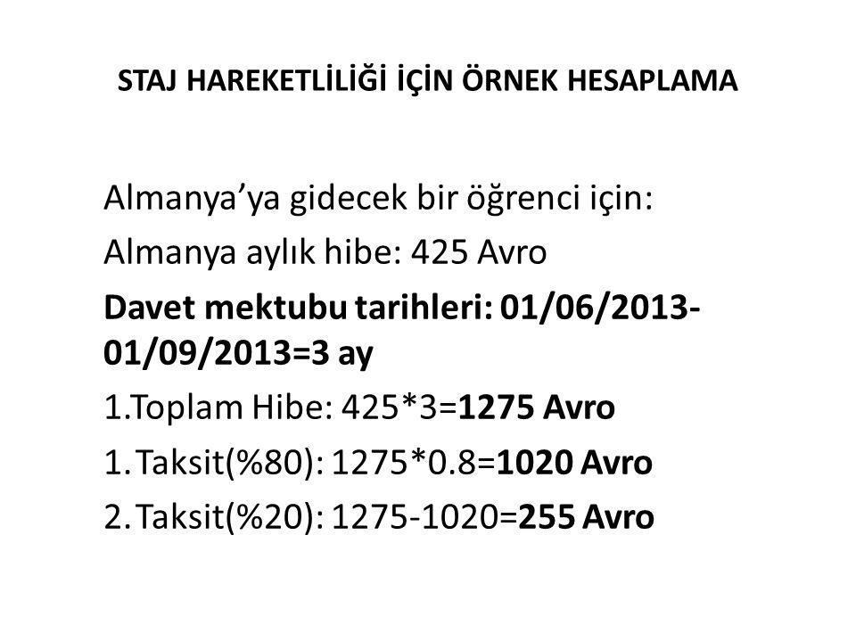 STAJ HAREKETLİLİĞİ İÇİN ÖRNEK HESAPLAMA Almanya'ya gidecek bir öğrenci için: Almanya aylık hibe: 425 Avro Davet mektubu tarihleri: 01/06/2013- 01/09/2