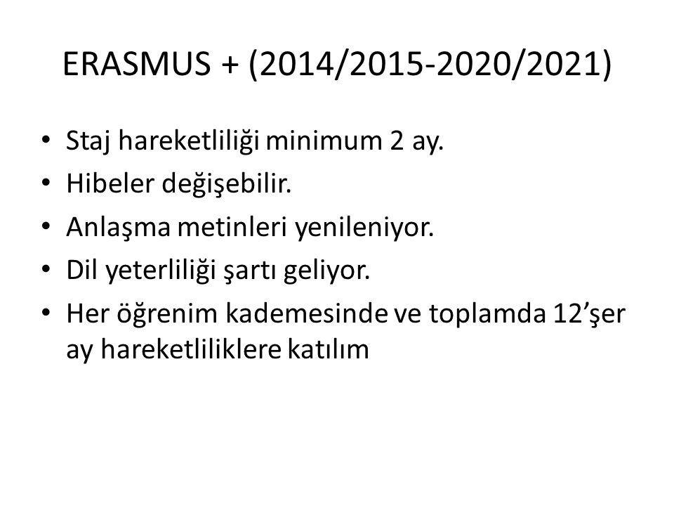 ERASMUS + (2014/2015-2020/2021) • Staj hareketliliği minimum 2 ay. • Hibeler değişebilir. • Anlaşma metinleri yenileniyor. • Dil yeterliliği şartı gel