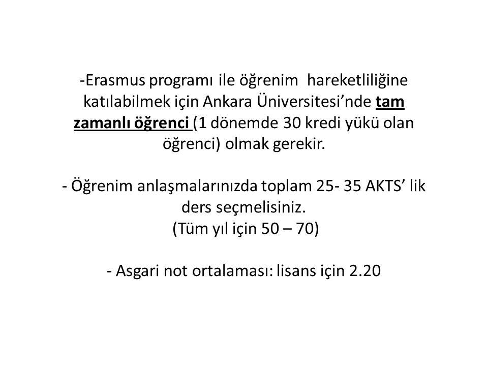 -Erasmus programı ile öğrenim hareketliliğine katılabilmek için Ankara Üniversitesi'nde tam zamanlı öğrenci (1 dönemde 30 kredi yükü olan öğrenci) olm
