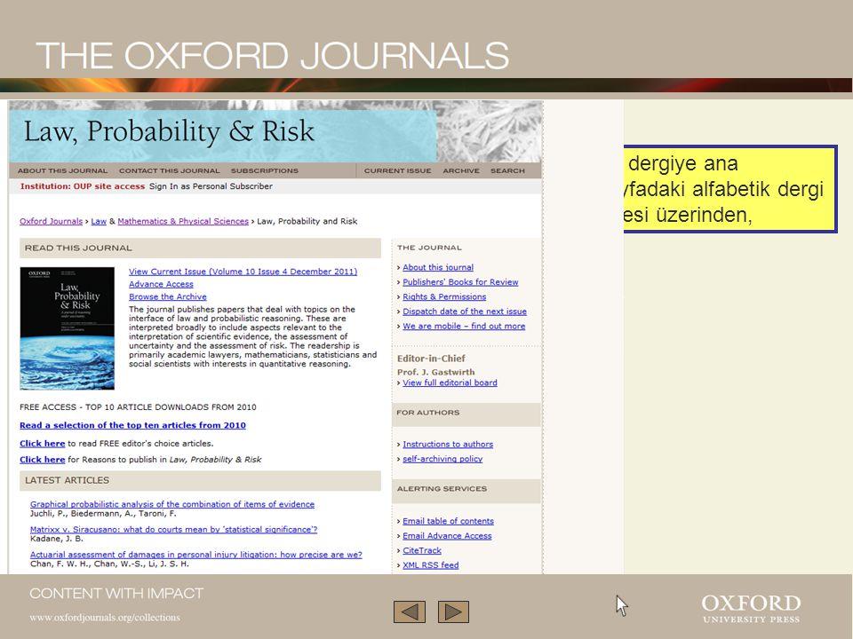 Bu sunum Oxford Dergi Koleksiyonu'nun yalnızca küçük bir kısmını anlatmaktadır.