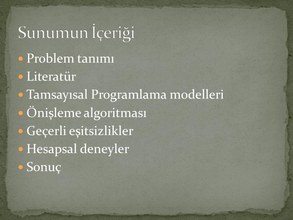  Problem tanımı  Literatür  Tamsayısal Programlama modelleri  Önişleme algoritması  Geçerli eşitsizlikler  Hesapsal deneyler  Sonuç