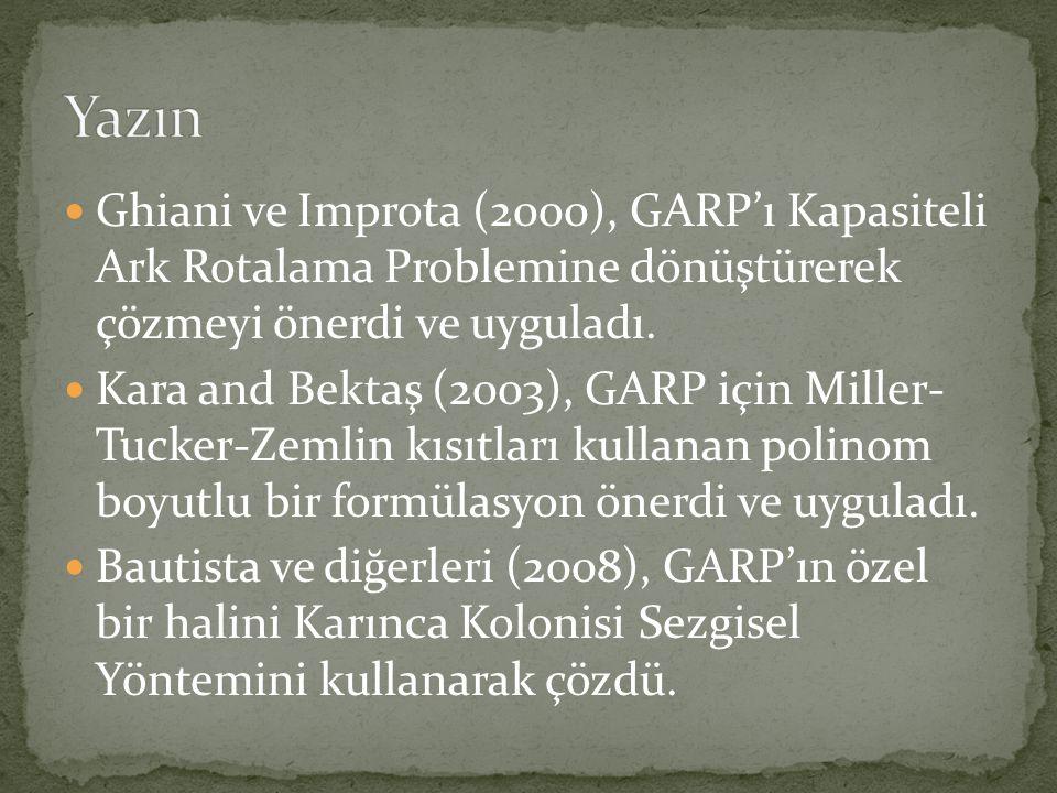  Ghiani ve Improta (2000), GARP'ı Kapasiteli Ark Rotalama Problemine dönüştürerek çözmeyi önerdi ve uyguladı.  Kara and Bektaş (2003), GARP için Mil