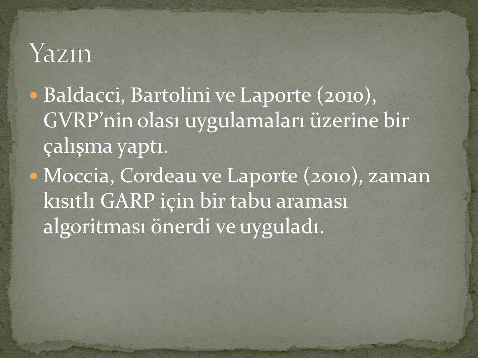  Baldacci, Bartolini ve Laporte (2010), GVRP'nin olası uygulamaları üzerine bir çalışma yaptı.  Moccia, Cordeau ve Laporte (2010), zaman kısıtlı GAR