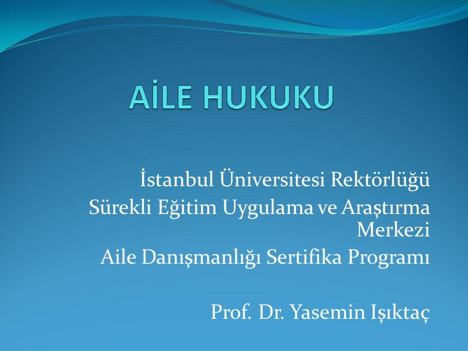 İstanbul Üniversitesi Rektörlüğü Sürekli Eğitim Uygulama ve Araştırma Merkezi Aile Danışmanlığı Sertifika Programı Prof.