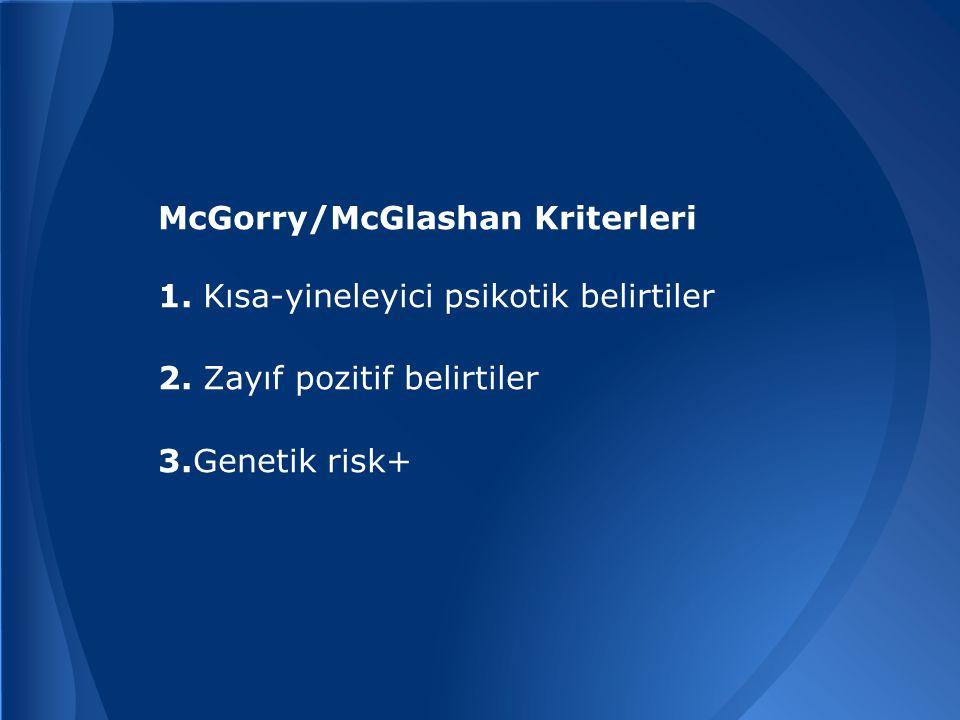 McGorry/McGlashan Kriterleri 1.Kısa-yineleyici psikotik belirtiler 2.