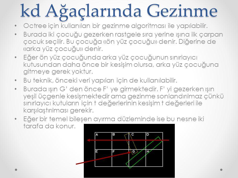 kd Ağaçlarında Gezinme • Octree için kullanılan bir gezinme algoritması ile yapılabilir.