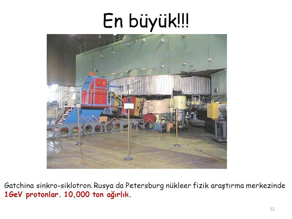 En büyük!!! 12 Gatchina sinkro-siklotron. Rusya da Petersburg nükleer fizik araştırma merkezinde 1GeV protonlar. 10,000 ton ağırlık.