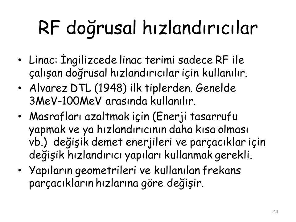 RF doğrusal hızlandırıcılar 24 • Linac: İngilizcede linac terimi sadece RF ile çalışan doğrusal hızlandırıcılar için kullanılır. • Alvarez DTL (1948)