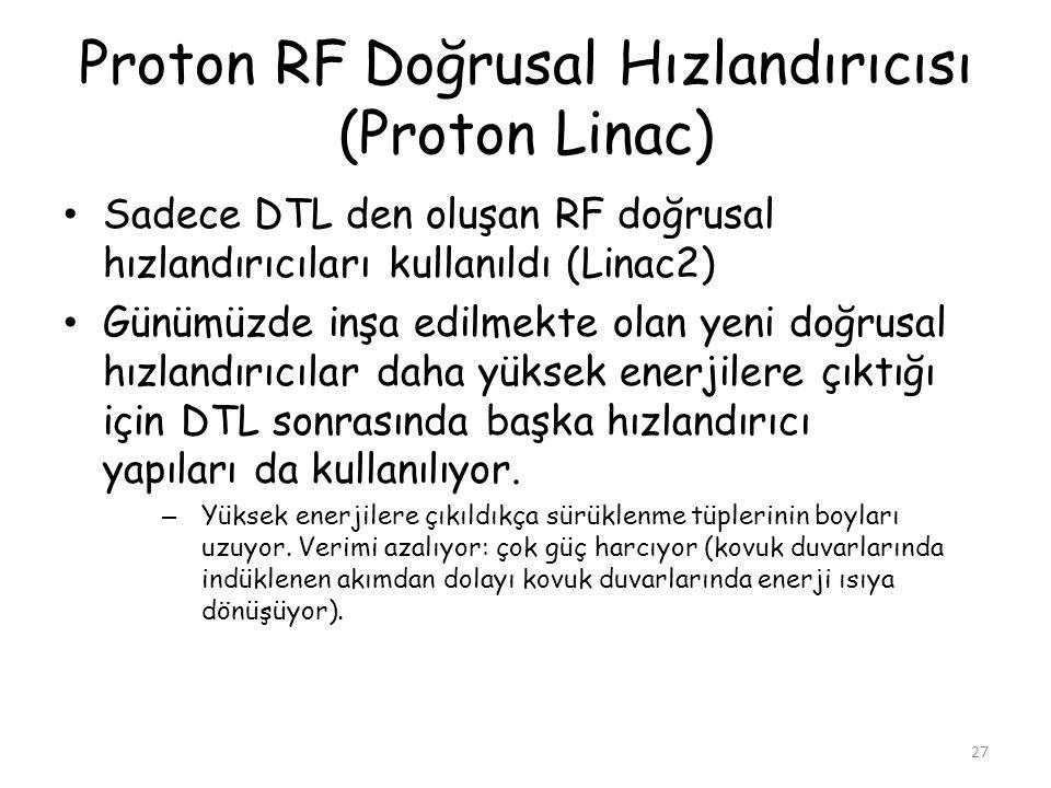 Proton RF Doğrusal Hızlandırıcısı (Proton Linac) • Sadece DTL den oluşan RF doğrusal hızlandırıcıları kullanıldı (Linac2) • Günümüzde inşa edilmekte olan yeni doğrusal hızlandırıcılar daha yüksek enerjilere çıktığı için DTL sonrasında başka hızlandırıcı yapıları da kullanılıyor.