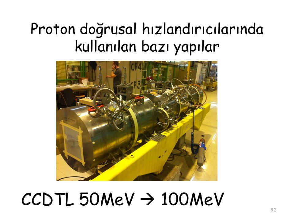 Proton doğrusal hızlandırıcılarında kullanılan bazı yapılar 32 CCDTL 50MeV  100MeV
