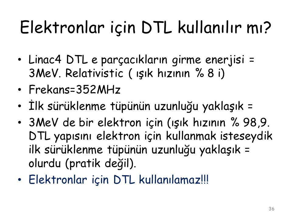 Elektronlar için DTL kullanılır mı? 36 • Linac4 DTL e parçacıkların girme enerjisi = 3MeV. Relativistic ( ışık hızının % 8 i) • Frekans=352MHz • İlk s