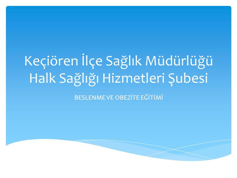 Keçiören İlçe Sağlık Müdürlüğü Halk Sağlığı Hizmetleri Şubesi BESLENME VE OBEZİTE EĞİTİMİ