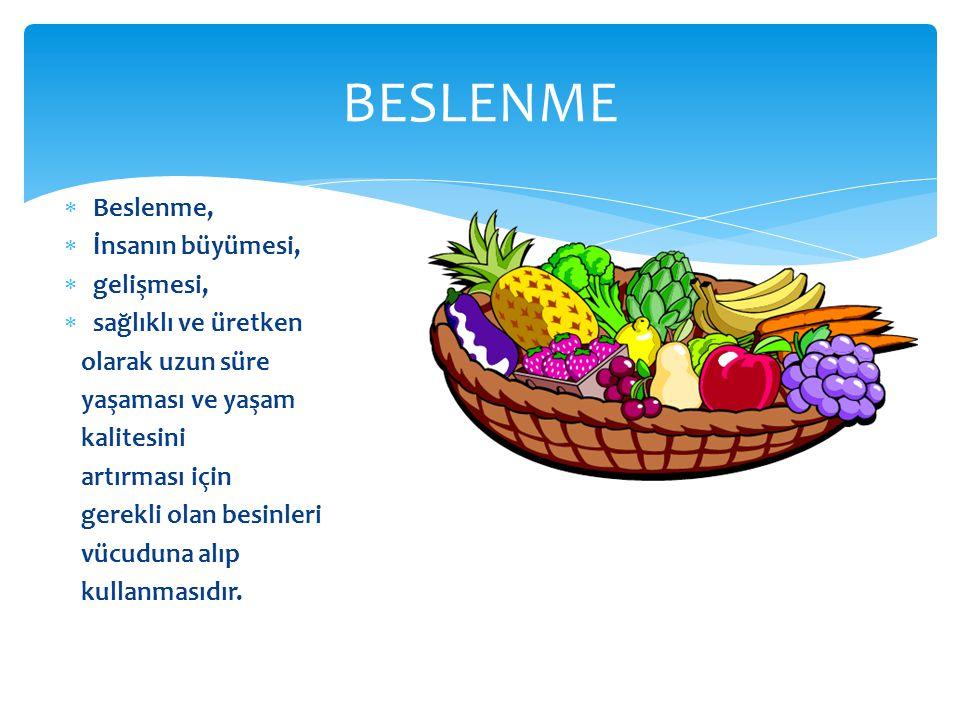  Beslenme,  İnsanın büyümesi,  gelişmesi,  sağlıklı ve üretken olarak uzun süre yaşaması ve yaşam kalitesini artırması için gerekli olan besinleri