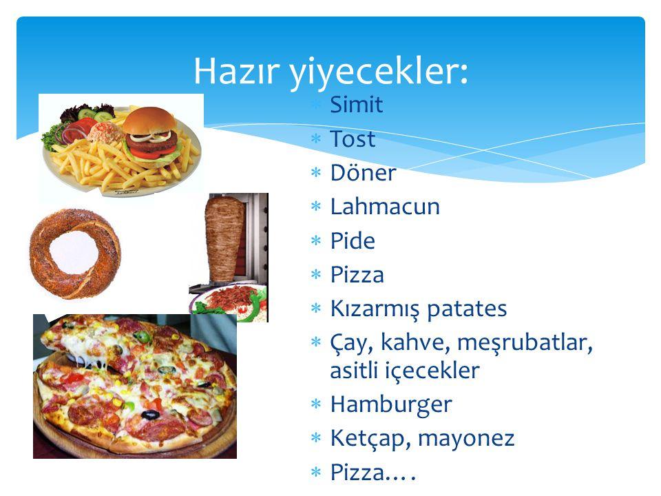  Simit  Tost  Döner  Lahmacun  Pide  Pizza  Kızarmış patates  Çay, kahve, meşrubatlar, asitli içecekler  Hamburger  Ketçap, mayonez  Pizza…