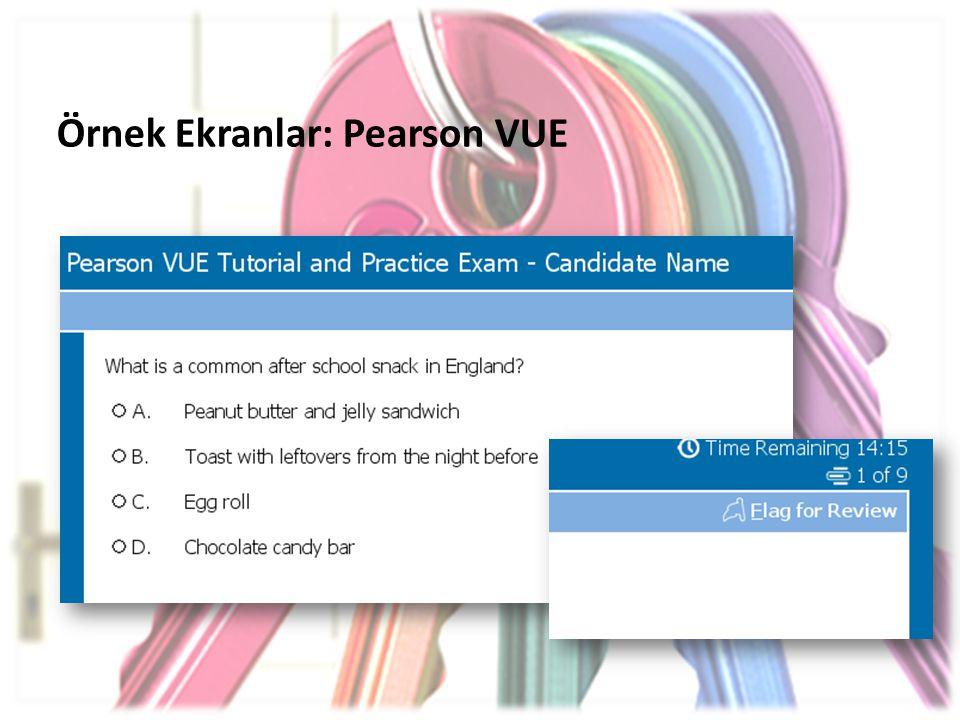 Örnek Ekranlar: Pearson VUE