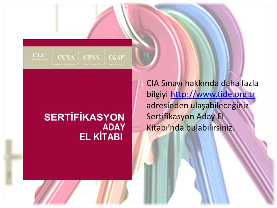 CIA Sınavı hakkında daha fazla bilgiyi http://www.tide.org.tr adresinden ulaşabileceğiniz Sertifikasyon Aday El Kitabı'nda bulabilirsiniz.http://www.t