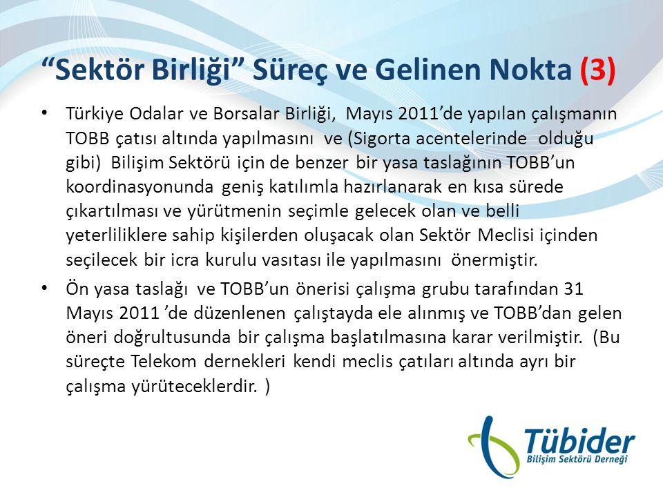 """""""Sektör Birliği"""" Süreç ve Gelinen Nokta (3) • Türkiye Odalar ve Borsalar Birliği, Mayıs 2011'de yapılan çalışmanın TOBB çatısı altında yapılmasını ve"""