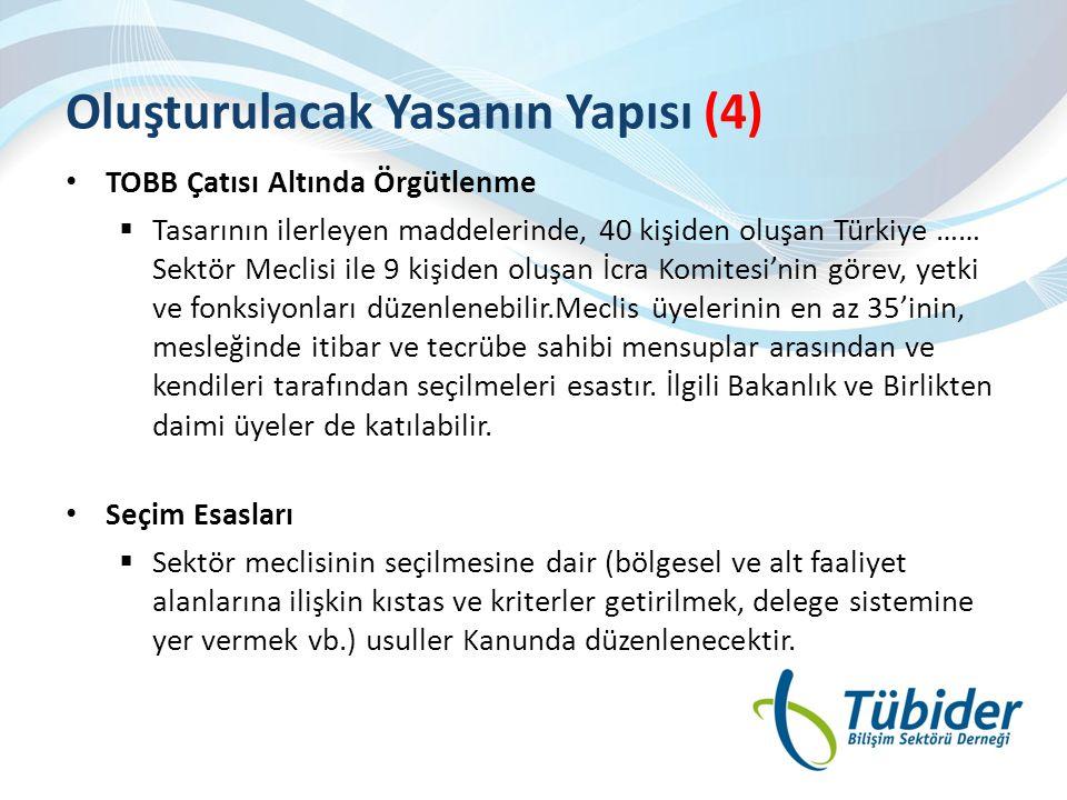 Oluşturulacak Yasanın Yapısı (4) • TOBB Çatısı Altında Örgütlenme  Tasarının ilerleyen maddelerinde, 40 kişiden oluşan Türkiye …… Sektör Meclisi ile