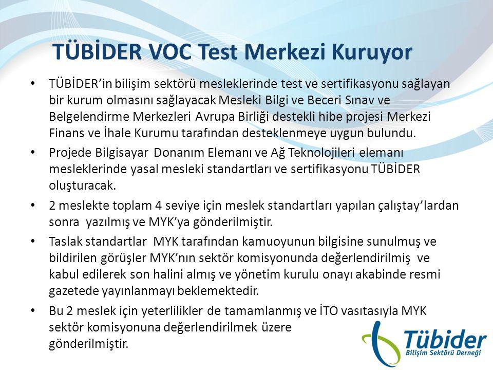 TÜBİDER VOC Test Merkezi Kuruyor • TÜBİDER'in bilişim sektörü mesleklerinde test ve sertifikasyonu sağlayan bir kurum olmasını sağlayacak Mesleki Bilg