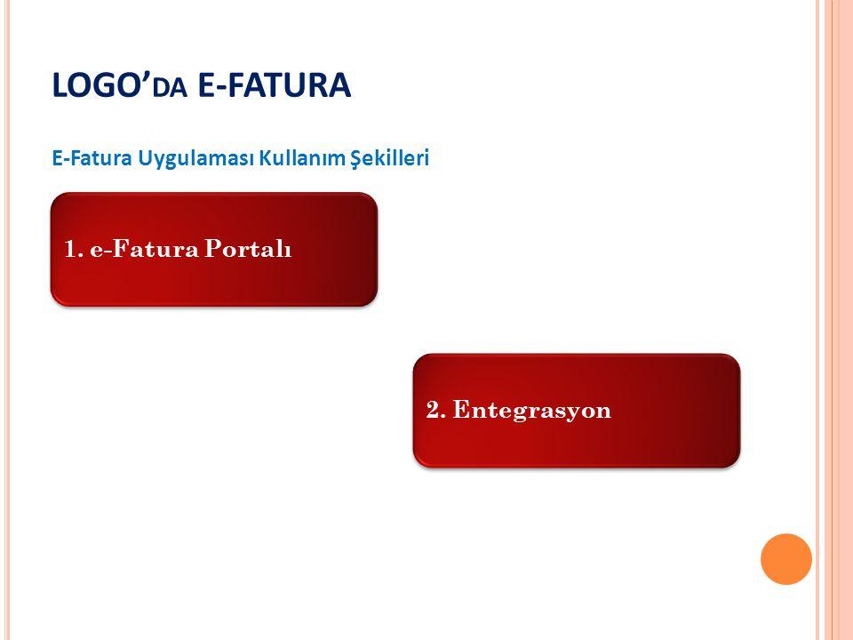 LOGO' DA E-FATURA E-Fatura Uygulaması Kullanım Şekilleri 1. e-Fatura Portalı2. Entegrasyon