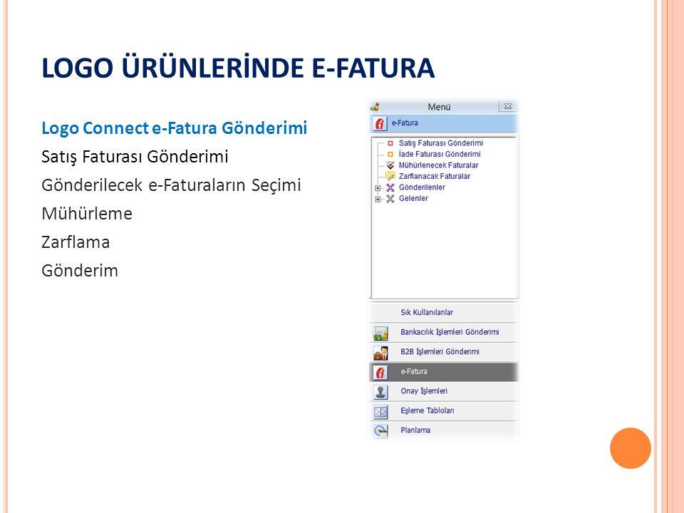 LOGO ÜRÜNLERİNDE E-FATURA Logo Connect e-Fatura Gönderimi Satış Faturası Gönderimi Gönderilecek e-Faturaların Seçimi Mühürleme Zarflama Gönderim