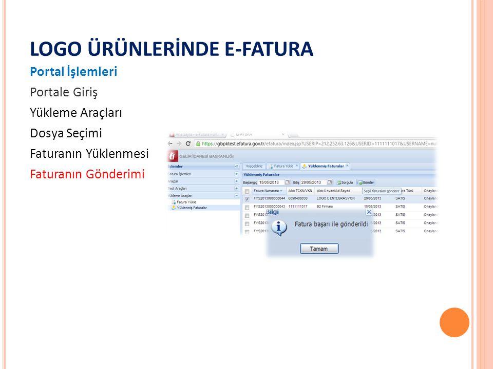 LOGO ÜRÜNLERİNDE E-FATURA Portal İşlemleri Portale Giriş Yükleme Araçları Dosya Seçimi Faturanın Yüklenmesi Faturanın Gönderimi