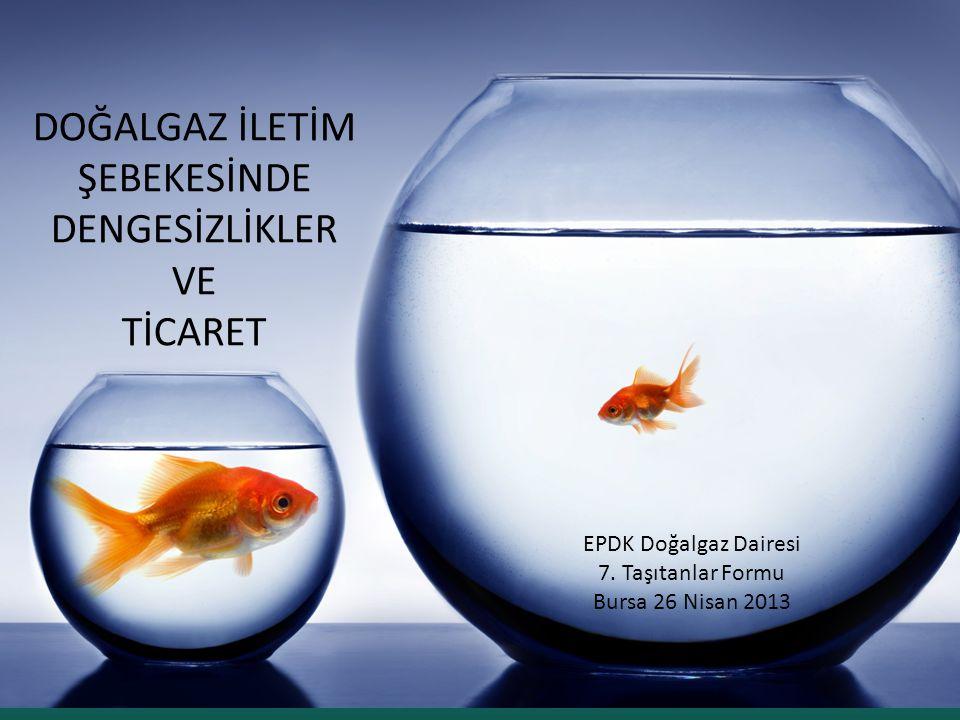 DOĞALGAZ İLETİM ŞEBEKESİNDE DENGESİZLİKLER VE TİCARET EPDK Doğalgaz Dairesi 7. Taşıtanlar Formu Bursa 26 Nisan 2013