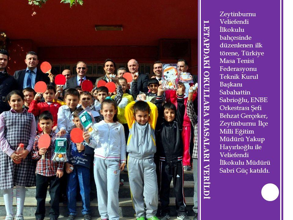 1.ETAPDAKİ OKULLARA MASALARI VERİLDİ Zeytinburnu Veliefendi İlkokulu bahçesinde düzenlenen ilk törene, Türkiye Masa Tenisi Federasyonu Teknik Kurul Ba