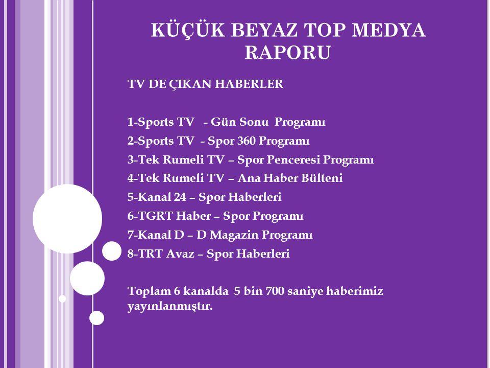 KÜÇÜK BEYAZ TOP MEDYA RAPORU TV DE ÇIKAN HABERLER 1-Sports TV - Gün Sonu Programı 2-Sports TV - Spor 360 Programı 3-Tek Rumeli TV – Spor Penceresi Pro