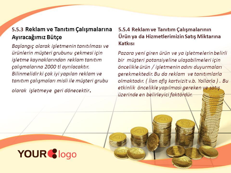 5.5.3 Reklam ve Tanıtım Çalışmalarına Ayıracağımız Bütçe Başlangıç olarak işletmenin tanıtılması ve ürünlerin müşteri grubunu çekmesi için işletme kay