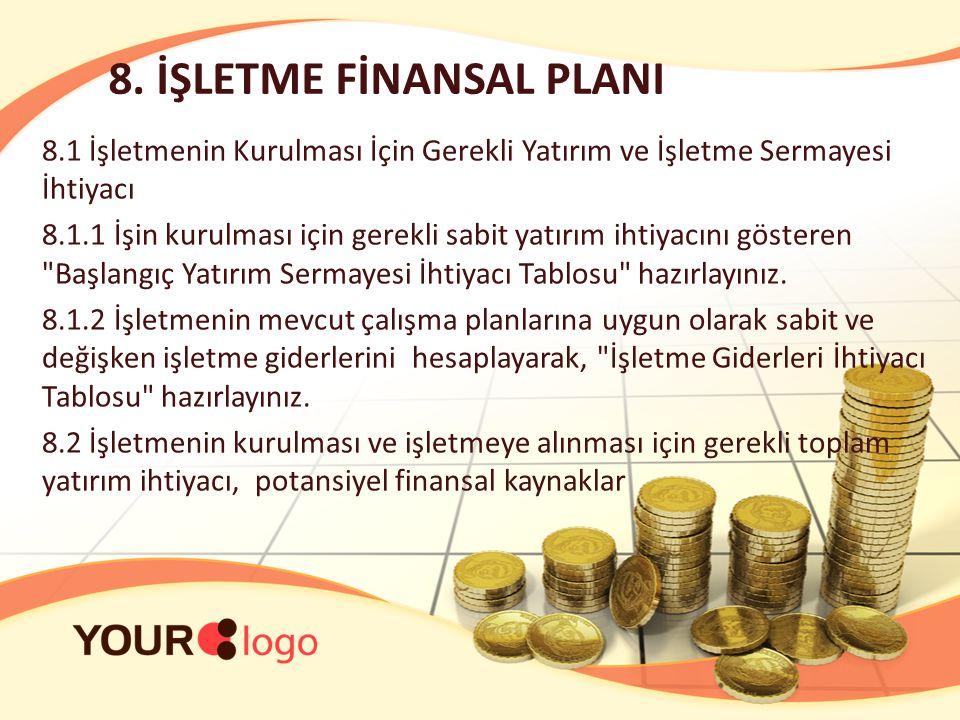 8. İŞLETME FİNANSAL PLANI 8.1 İşletmenin Kurulması İçin Gerekli Yatırım ve İşletme Sermayesi İhtiyacı 8.1.1 İşin kurulması için gerekli sabit yatırım