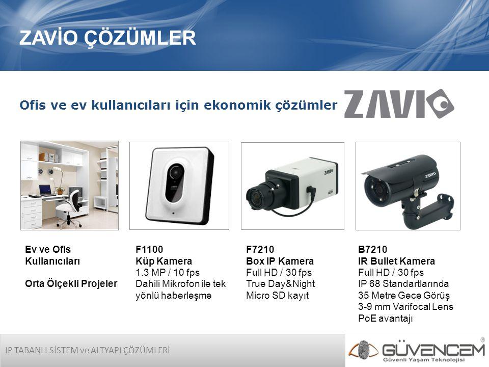 B7210 IR Bullet Kamera Full HD / 30 fps IP 68 Standartlarında 35 Metre Gece Görüş 3-9 mm Varifocal Lens PoE avantajı IP TABANLI SİSTEM ve ALTYAPI ÇÖZÜMLERİ ZAVİO ÇÖZÜMLER Ofis ve ev kullanıcıları için ekonomik çözümler Ev ve Ofis Kullanıcıları Orta Ölçekli Projeler F7210 Box IP Kamera Full HD / 30 fps True Day&Night Micro SD kayıt F1100 Küp Kamera 1.3 MP / 10 fps Dahili Mikrofon ile tek yönlü haberleşme